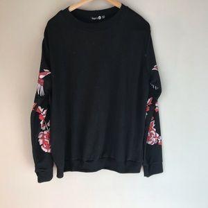 Boohoo Black Sweatshirt, 14, XL, Birds, Cranes NWT